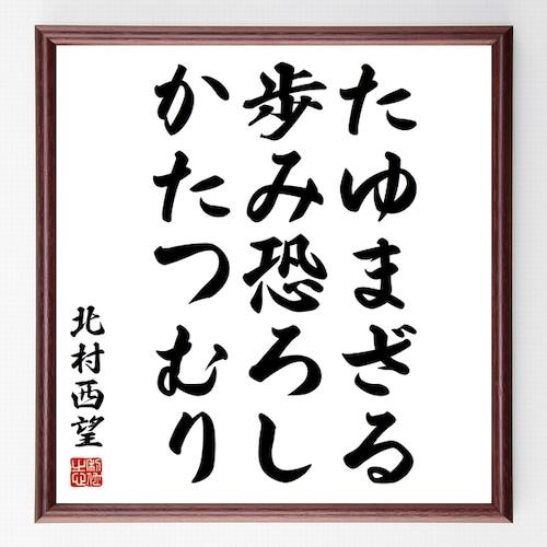 北村西望の名言書道色紙『たゆまざる歩み恐ろし、かたつむり』額付き/受注後直筆(千言堂)Z3584
