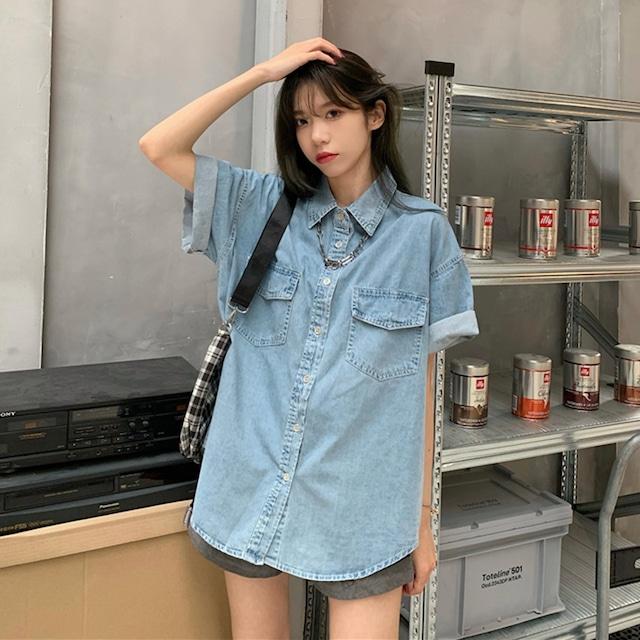 【トップス】シンプル半袖シングルブレストPOLOネックデニムシャツ46552222