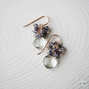Green Amethyst × Iolite Earrings/K14 gf