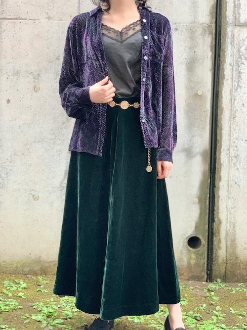 Vintage Purple & Green Velvet See Through Blouse