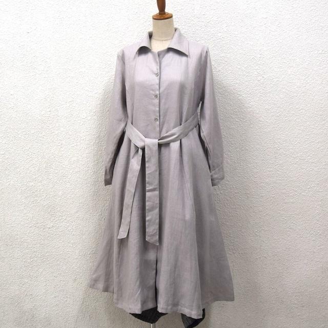リネン ロングシャツワンピースドレス ベージュグレー無地