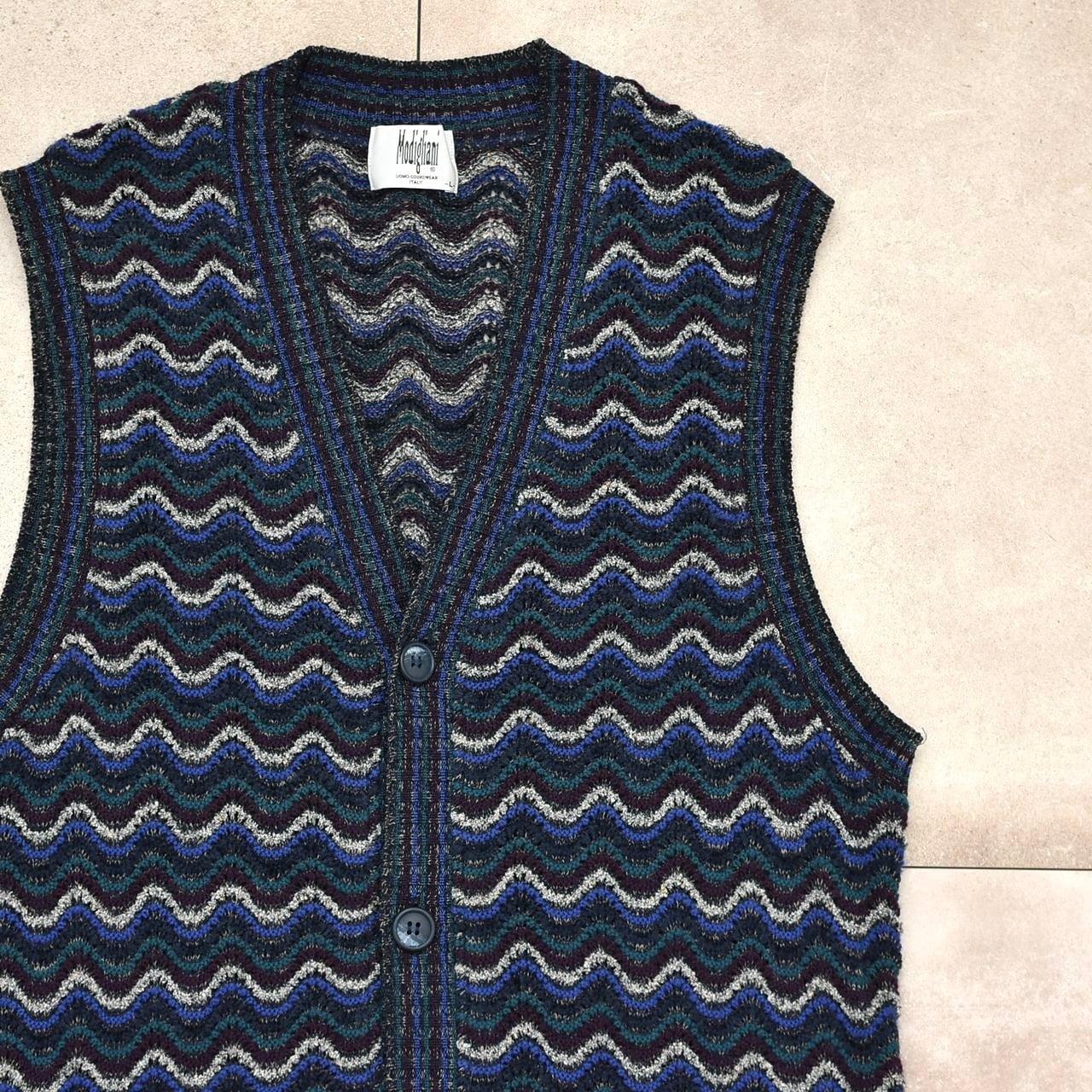 Modigliani wave border design knit vest