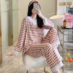 チェックが大人可愛い♡長袖パジャマ