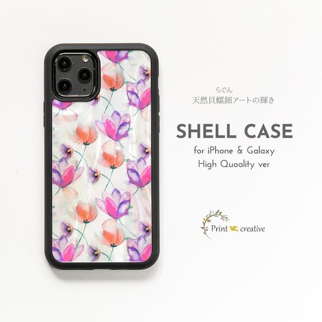 天然貝シェル★チューリップ(iPhone/Galaxyハイクオリティケース)|螺鈿アート|iPhone12対応