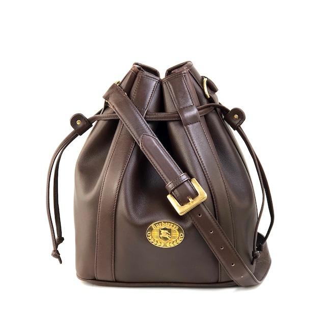 Burberrys' バーバリーズ クラシックチェック 巾着 レザー ショルダーバッグ ブラウン vintage ヴィンテージ オールド 3pbm66