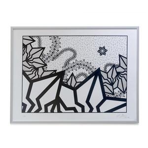 "BAKIBAKI screen print ""Silver River"" (with Frame)"