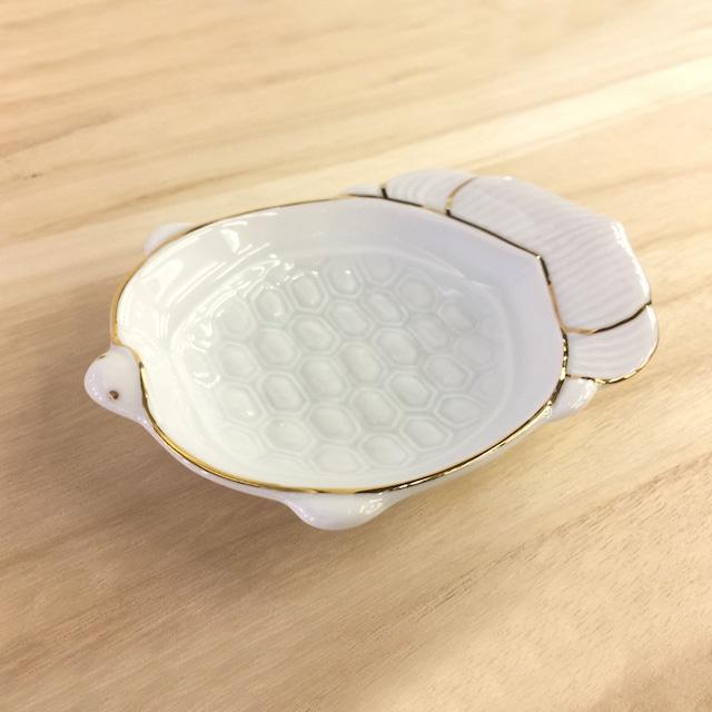 金ライン 亀型小皿