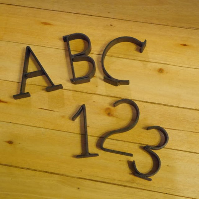 アルファベット&ナンバースチールオブジェ ブラウン
