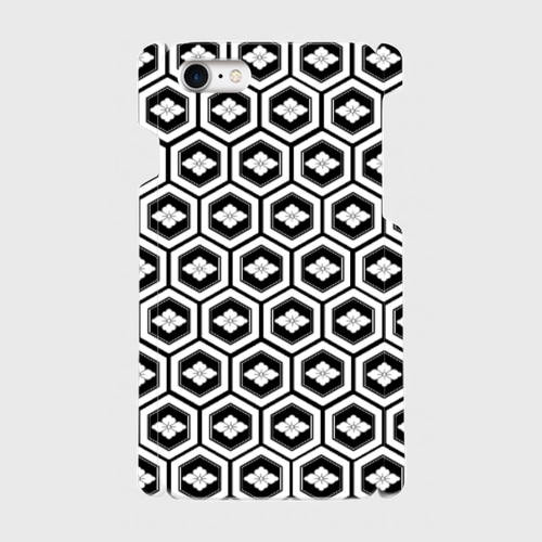家紋模様、亀甲に花菱(直江兼続)/ iPhoneスマホケース(ハードケース)