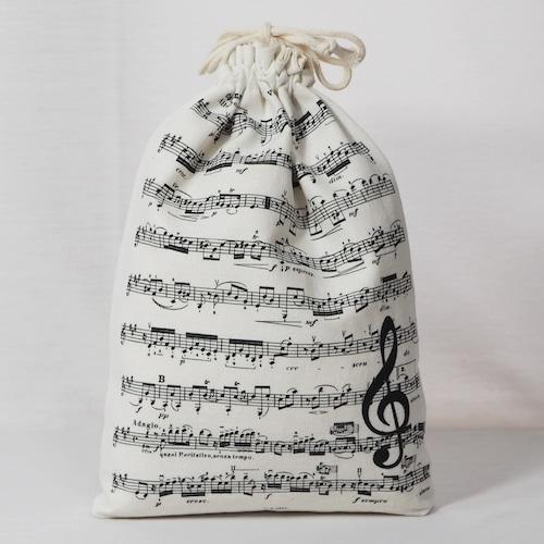 楽譜の巾着袋「ト音記号とヘ音記号」(5-267)