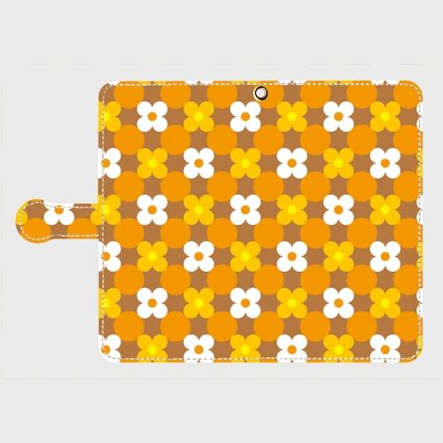 昭和デザイン花(白・橙・黄)/ Androidスマホケース(手帳型ケース)