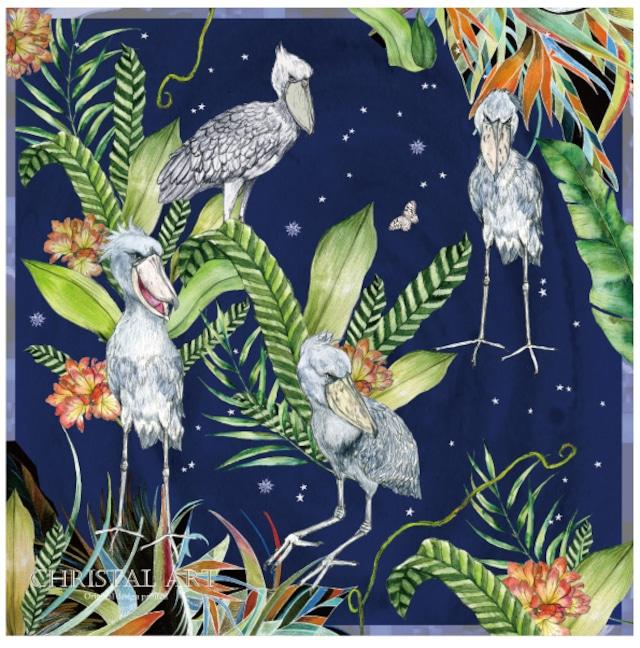 ◆即納◆「夜空のハシビロコウ」柄 コットンバンダナ◆