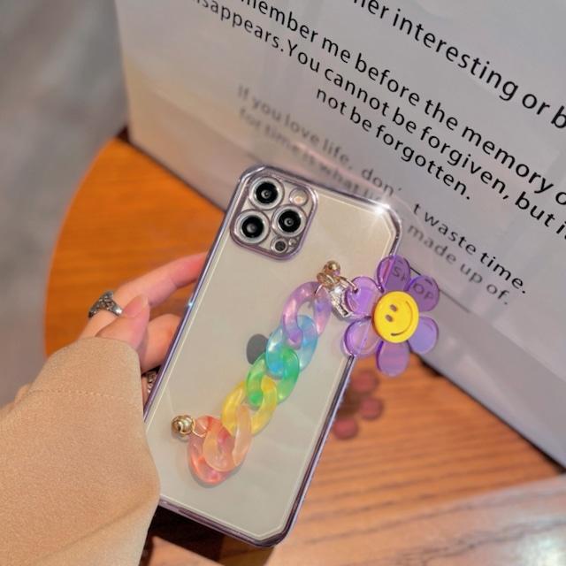 キュート♡カラフルチェーンフラワーiPhoneケース C0285