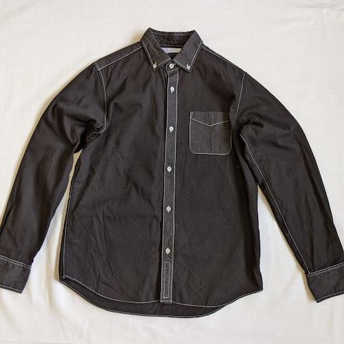 <ツムギラボ>Oxford and ramie button down shirt black dye