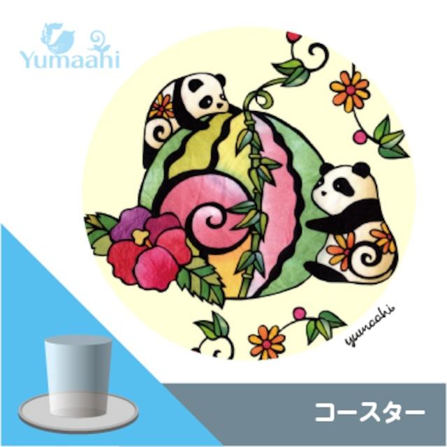 コースター :パンダと笹スイカ