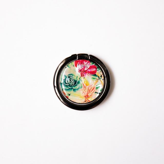 天然貝スマホリング・バンカーリング(アルストロメリア)螺鈿アート