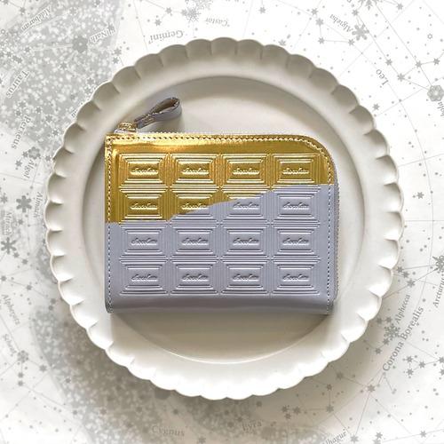 革の淡灰青色チョコ ファスナーミニ財布 (金の包み紙)