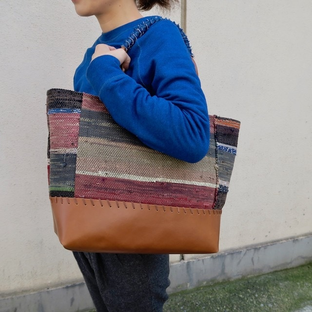 "●▲■×""BORO"" 裂き織りVintage Tote Bag"