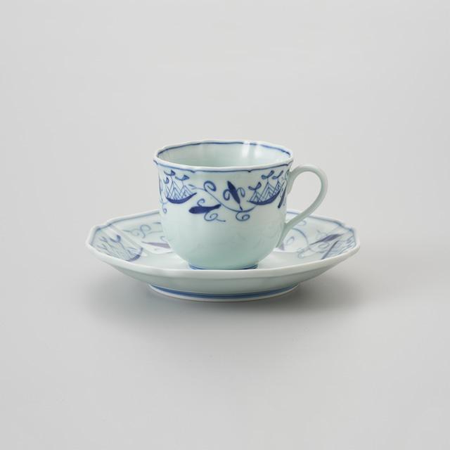 """【青花】""""帆船つなぎ"""" 木甲コーヒー碗皿"""