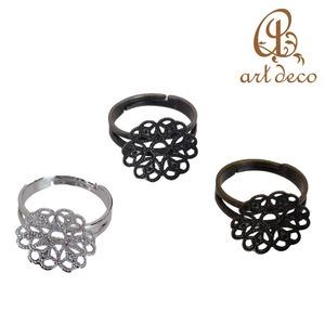 アクセサリー パーツ 指輪 リング 花型 10個 フリー 直径15.5mm [ri-3042] ハンドメイド オリジナル 材料 金具 装飾 スカシパーツ 空枠