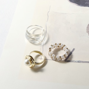 SET RINGS || 【通常商品】 BLOSSOMS CLEAR RING 3 SET C || 3 RINGS || MIX || FBB048