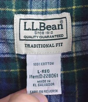 USED L.L.Bean CHECK SHIRT
