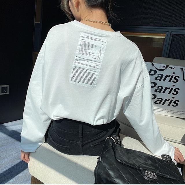 バックシール長袖Tシャツ 2色 【210450】