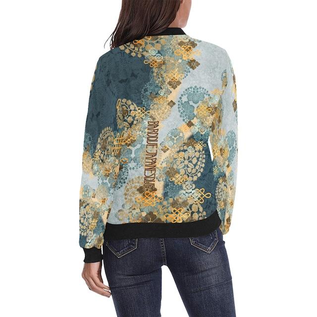 家紋装飾 褐返月白色 メンズ&レディースボンバージャケット