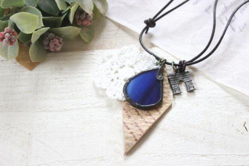 ステンドグラスのネックレス*ブルー/*LIMO*