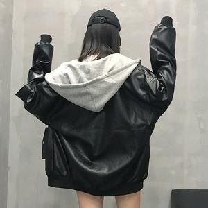 【アウター】ストリート長袖無地学園風フード付きジッパージャケット42910734
