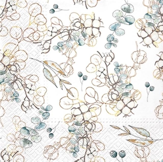 2021秋冬【PAW】バラ売り2枚 ランチサイズ ペーパーナプキン Winter Leaves ホワイト