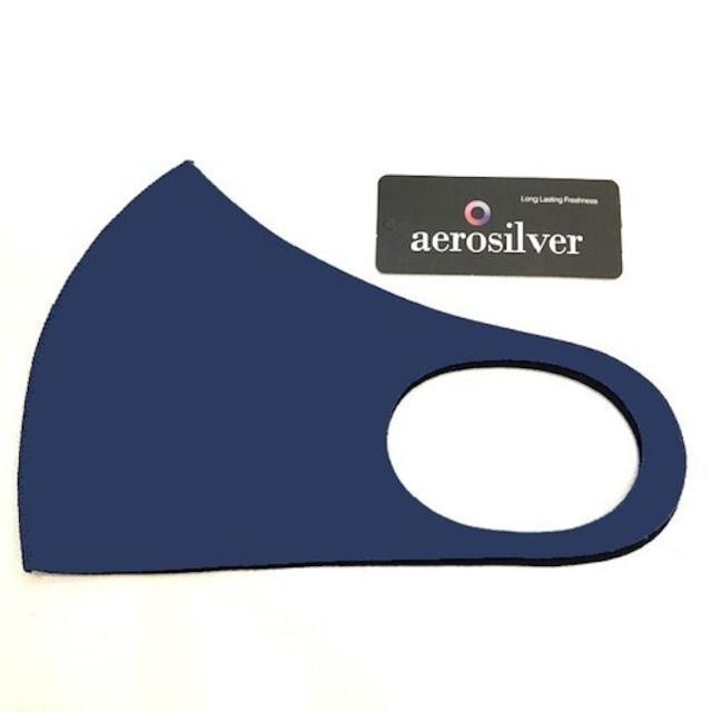 冷感接触洗えるマスク ネイビー aeroslverファブリック使用 綺麗なフェイスライン♪