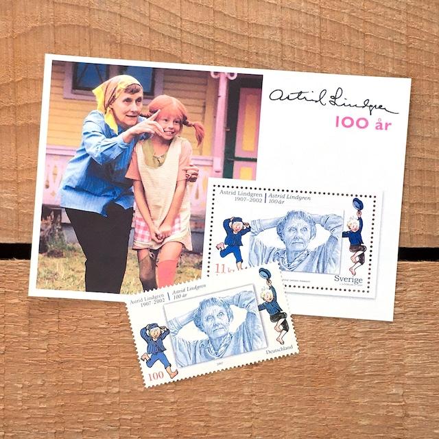 切手(未使用)「アストリッド・リンドグレーン生誕100年 - 2枚セット(2007)」