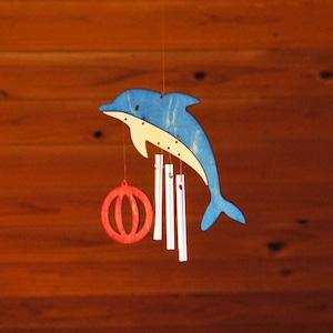 「イルカ」木製ウインドチャイム