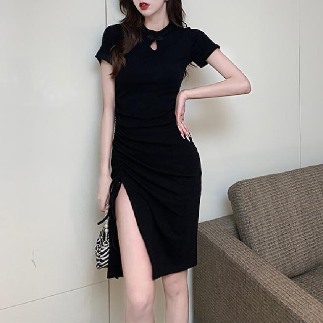 ワンピース 女性らしい スリット 無地 黒  チャイナドレス セクシー レトロ 半袖 ブラック S M L