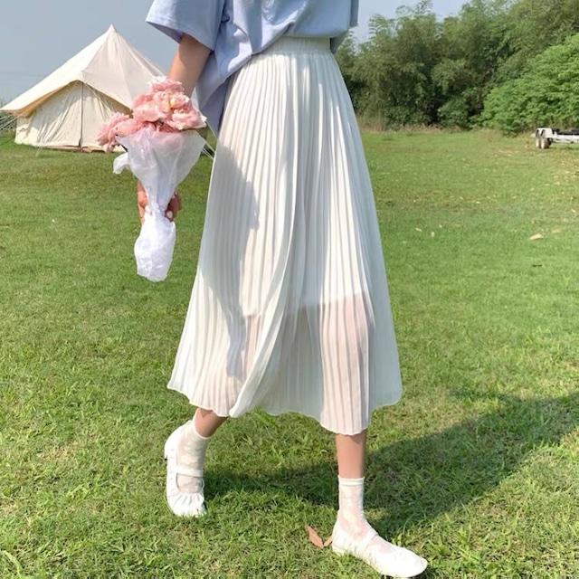 フェミニン♡シフォンプリーツスカート B0522