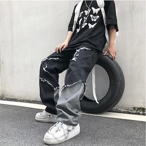 【ボトムス】ストリート系切り替え個性的設計感ありカジュアルデニムパンツ52129559