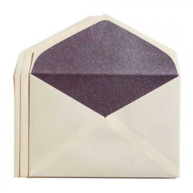 カドをとった二重封筒ダイヤ貼り・洋3(JIS洋1)・雁皮/紫(むらさき)・3枚組
