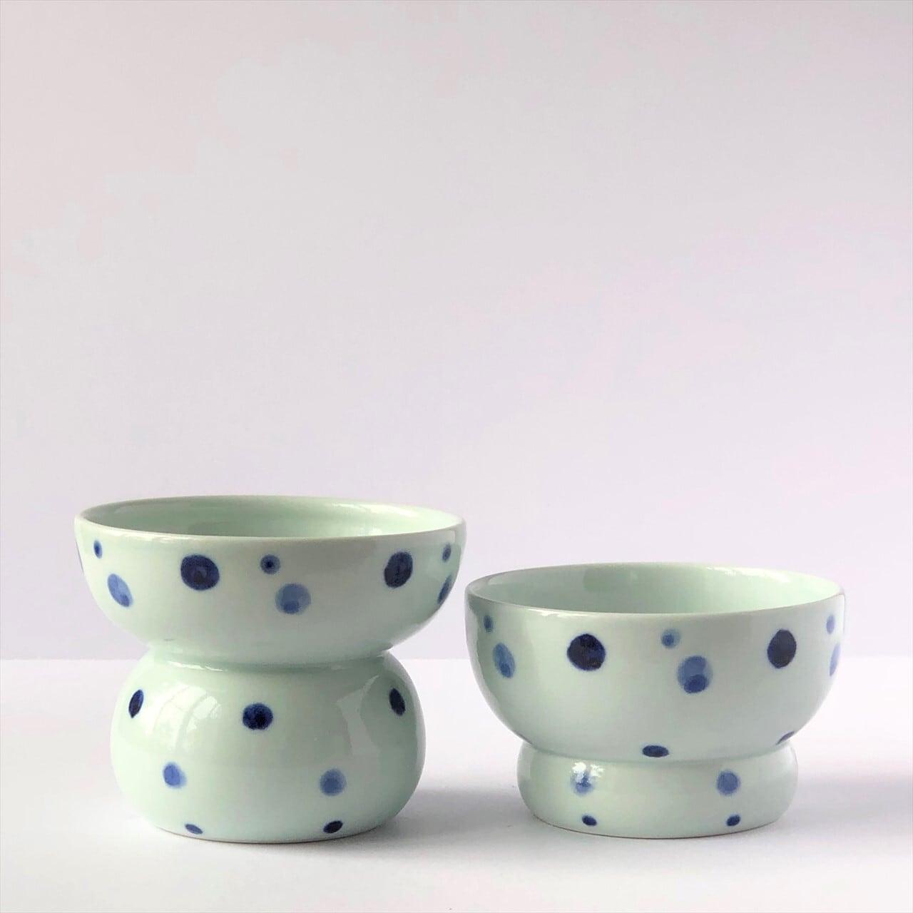 有田焼【まどか】 青い水玉  ペアセット 製造:江口製陶所