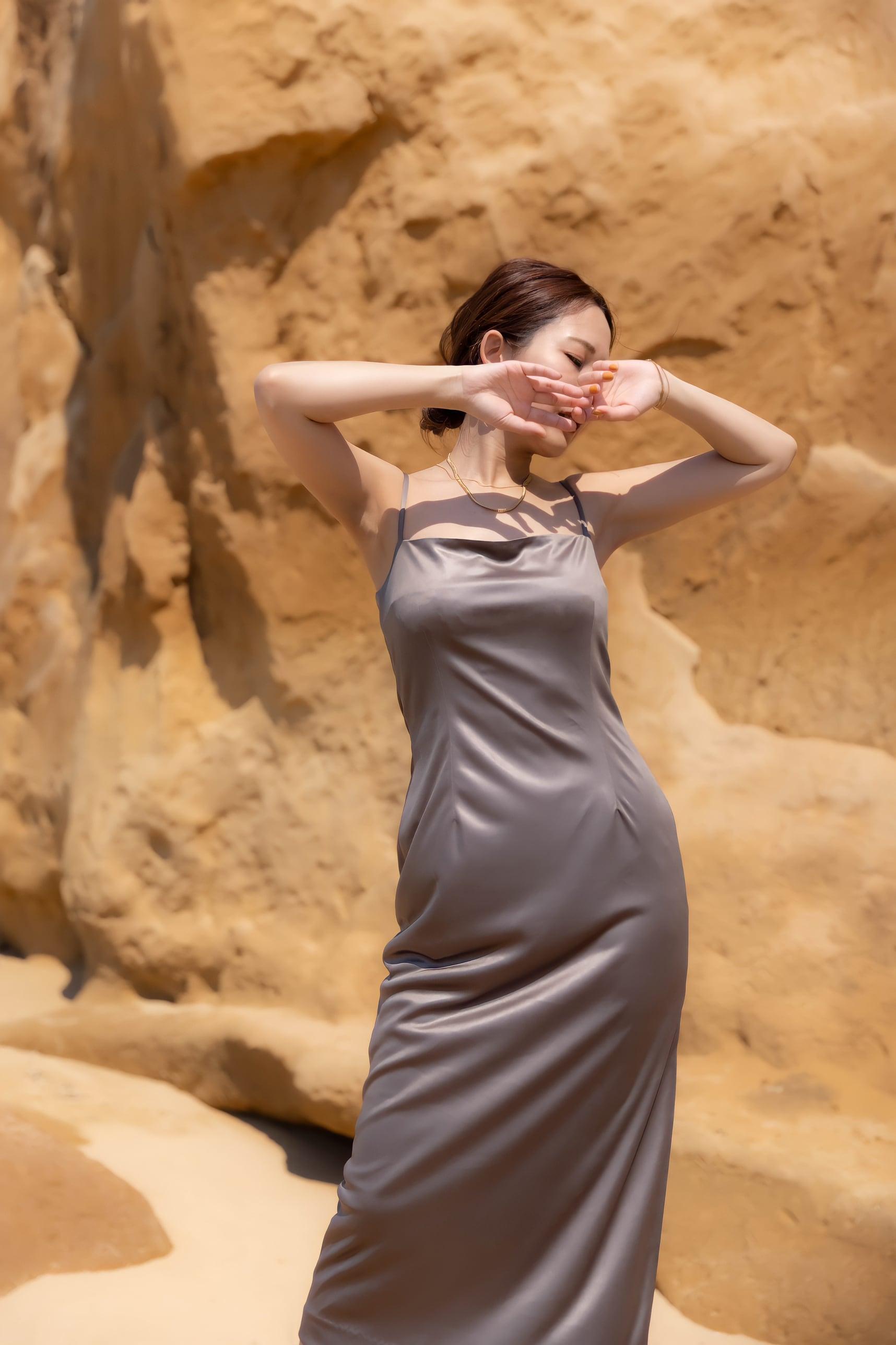 drape satin stretch dress