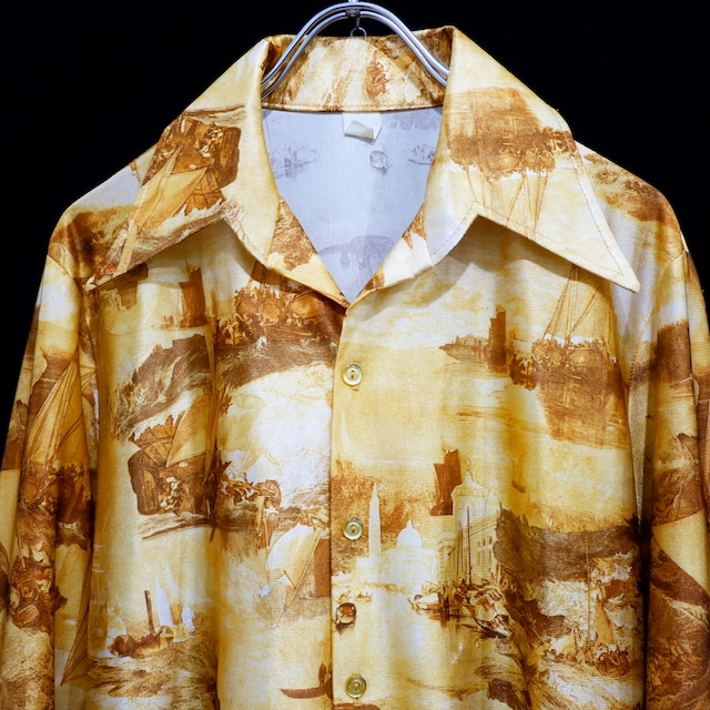 アメリカ古着 1970s 転写プリント シャツ