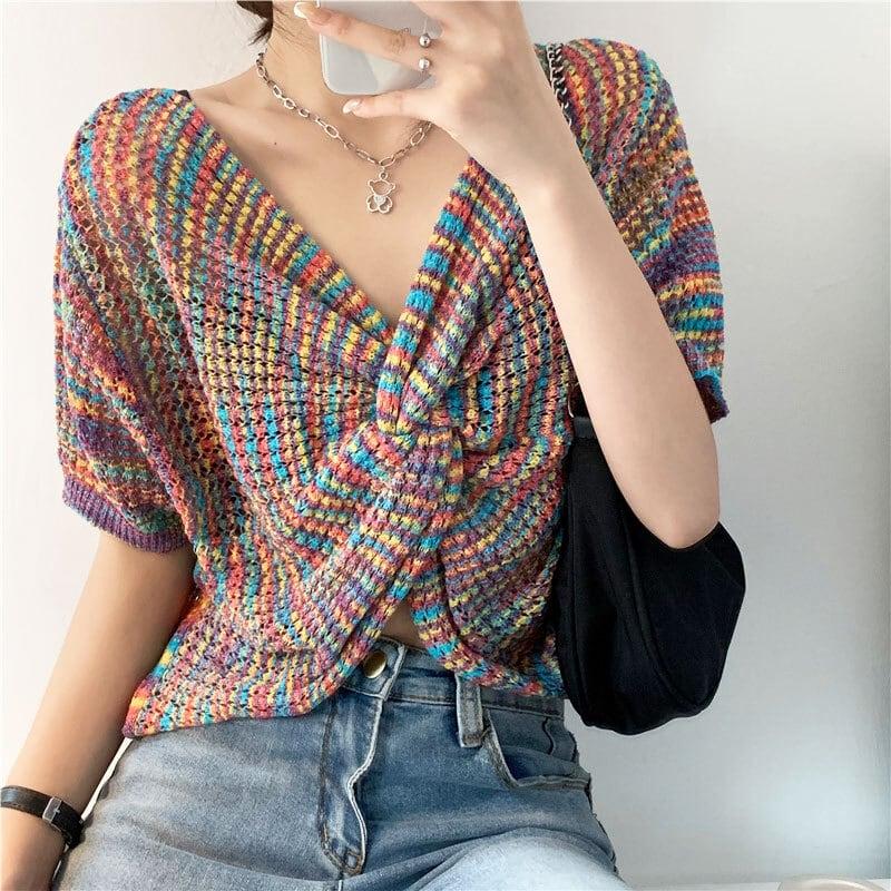 Vネックサマーニット   虹色 韓国服 2way 夏服 ショート丈 レイヤード かわいい Kファッション