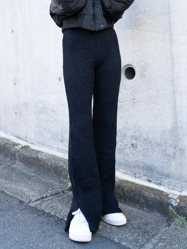 【WOMENS - 1 size】SIDESLIT KNIT PANTS / 2colors
