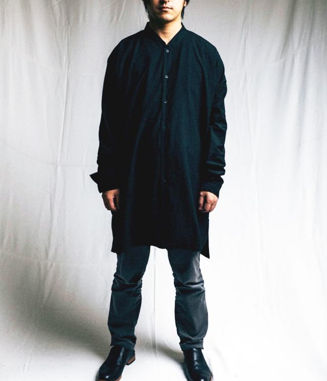 JAN JAN VAN ESSCHE - Regular fiited shirt out of one piece pattern witn standing collar and side splits - SHIRT#63