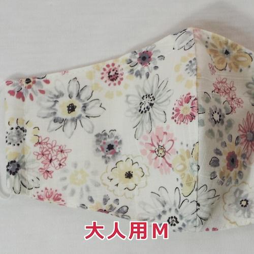 手作り立体マスク/スケッチ風の花柄・大人用Mサイズ (5-263)