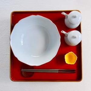 【30527】九谷の白 りんか鉢/ Kutani White Rinka Bowl / Showa Era