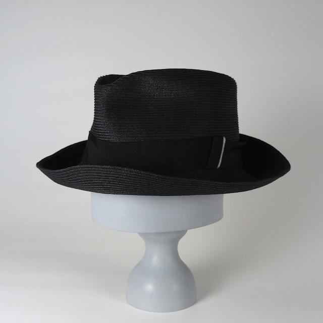 SS20-BD-4 Paper Braid Crinkle Hat BLK/BLK/SIL