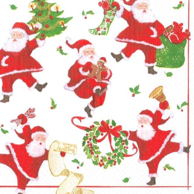 2021秋冬【Caspari】バラ売り1枚 ランチサイズ ペーパーナプキン Dancing Santas ホワイト