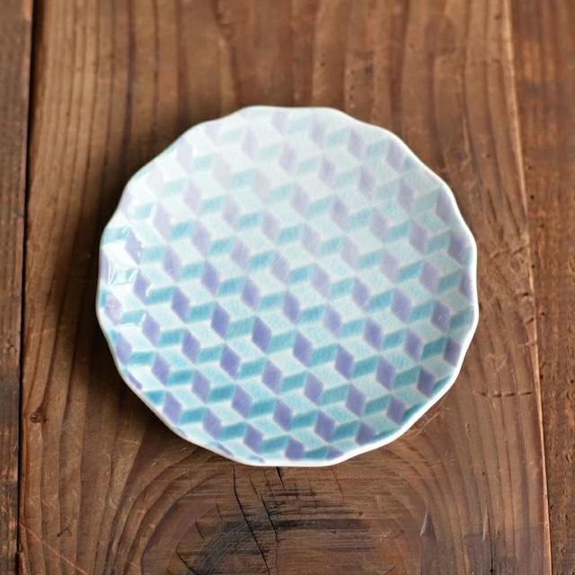 【九谷焼】淡いグラデーションの4寸小皿「紅掛空色」(淡青)