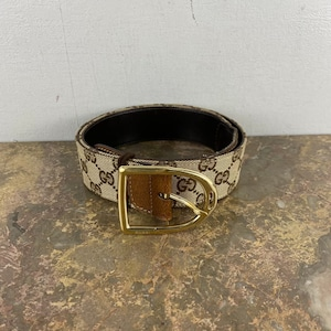 .GUCCI GG LOGO PATTERNED CANVAS LEATHER BELT MADE IN ITALY/グッチGGロゴ柄キャンバスレザーベルト2000000052366